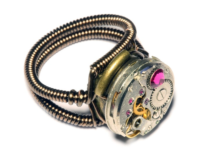 Steampunk ring, Steampunk Jewelry ,  Watch Movement Steampunk Ring with fuchsia crystal