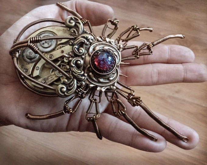 Steampunk Arachnid Sculpture - One of a kind - with dragon's breath glass stone