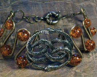 The Neverending Story, Auryn Bracelet with Lab created amber beads
