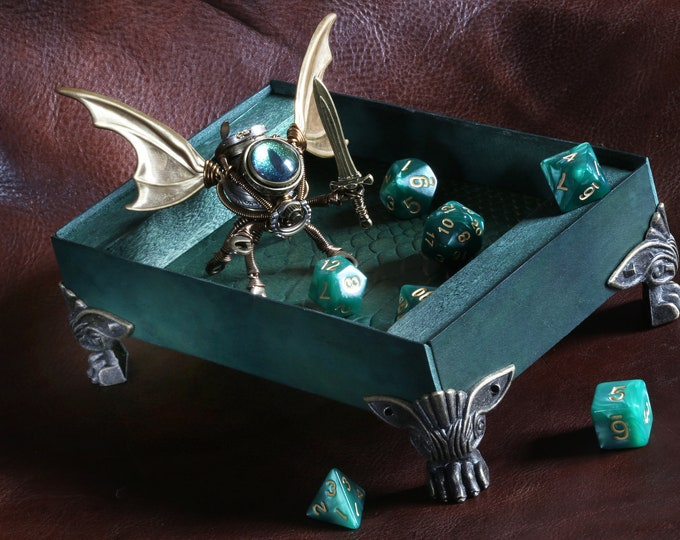 Green dice rolling tray, Steampunk Modron dice guardian sculpture