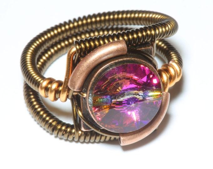 Steampunk Jewelry - Ring - Vintage Cathedral Swarovski Crystal
