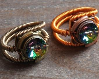 8th anniversary special sale - 2 swarovski crystal steampunk rings - Vitrail