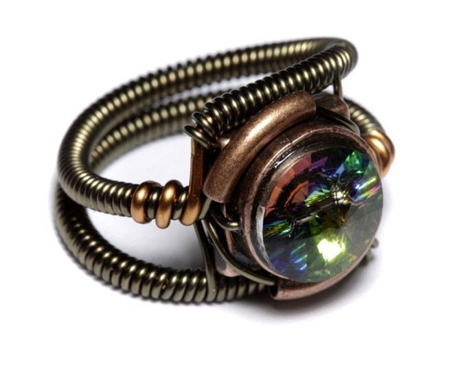 Steampunk Jewelry - RING - Vitrail Svarovski Crystal