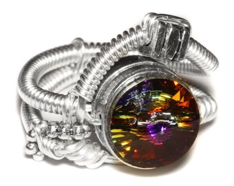 Steampunk Jewelry - Steampunk Wire Ring with Volcano Swarovski Crystal