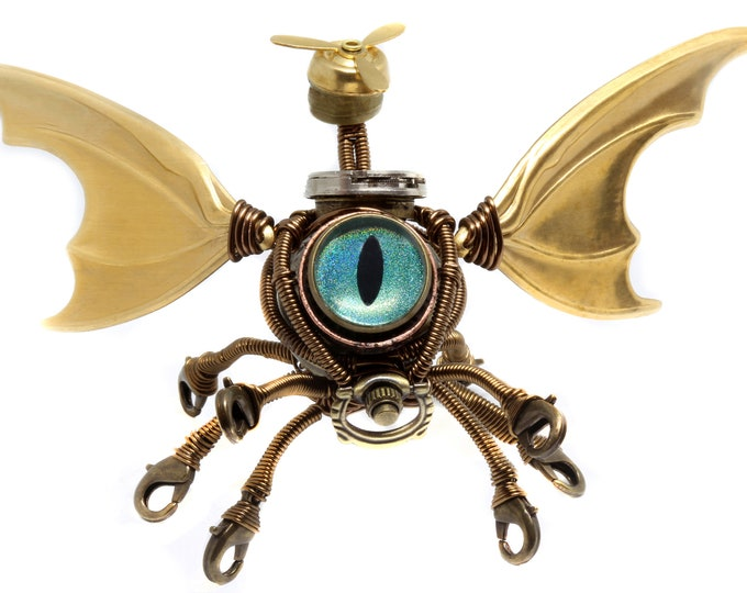 Steampunk Modron, Flying Octopus Cthulhu Minion Robot with Blue Green eye