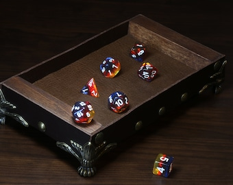 Brown leather and wood dice rolling tray.
