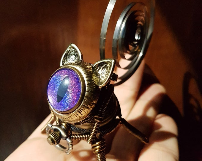 Little Steampunk cat robot sculpture - purple iridescent eye