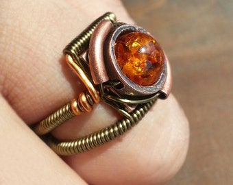 Amber ring, Steampunk Jewelry - Ring - Copper Lab Created Amber
