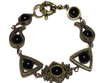 Neo Victorian Jewelry - Bracelet - Brass Tone with Black Onyx
