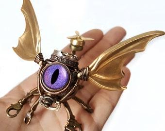Steampunk Modron, Flying Octopus Cthulhu Minion Robot with purple eye