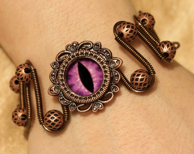 Fantasy Jewelry - Bracelet - Purple dragon eye, dungeons dragons dnd