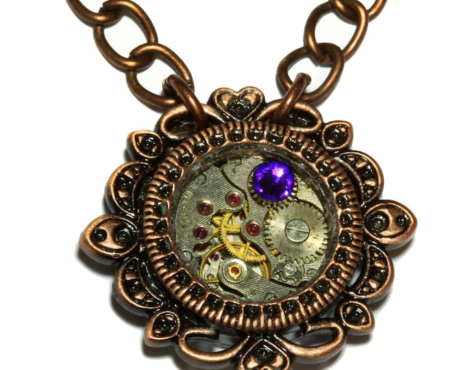 Steampunk Jewelry - Pendant - Watch movement and heliotrope crystal - Antique copper
