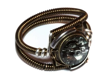 Steampunk Jewelry - Ring - Black Diamond Swarovski Crystal - Silver Tone and Bronze