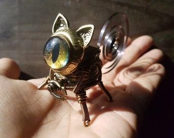Little Steampunk cat robot sculpture