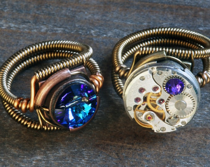 2 Steampunk Rings -  Antique Vintage Watch Movement with Heliotrope Crystal and Bermuda Blue - 8th anniversary Special