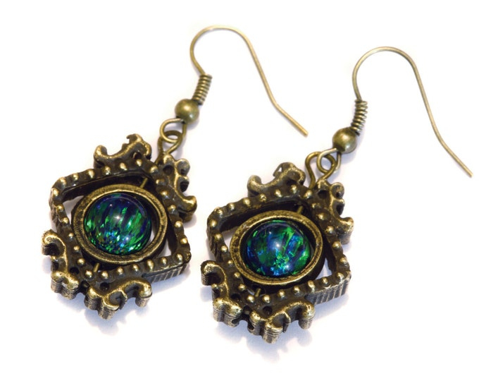 Neo Victorian Earrings - Black lab created opal - Bronze