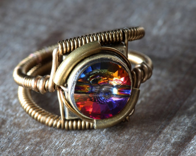Steampunk Jewelry - RING - Volcano Swarovski Crystal (Custom size available - see description)
