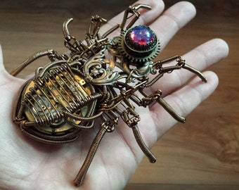 Steampunk Spider Sculpture - One of a kind with dragon's breath glass stone