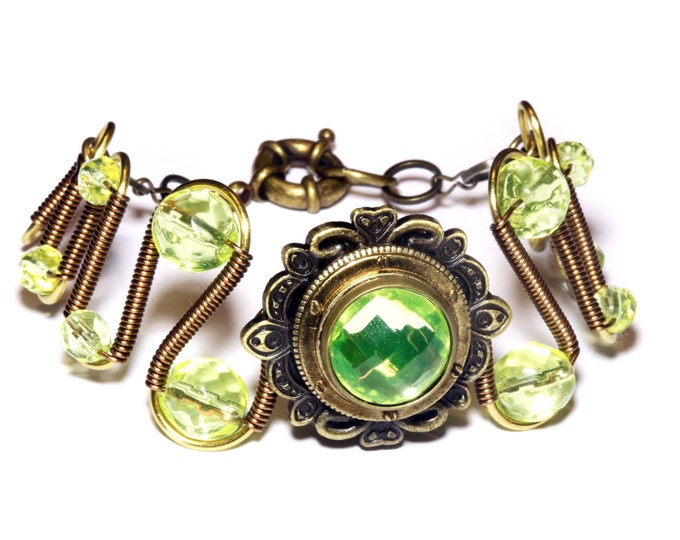 Antique bronze bracelet with vaseline uranium glass - Steampunk Victorian Style