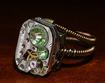 Steampunk Jewelry - Ring - Peridot Svarovski Crystal