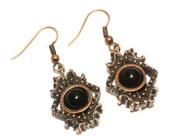 Victorian Earrings - Black Onyx -  Antique copper