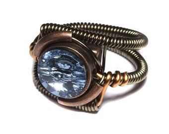 Steampunk Jewelry - RING - Aquamarine Blue Swarovski Crystal
