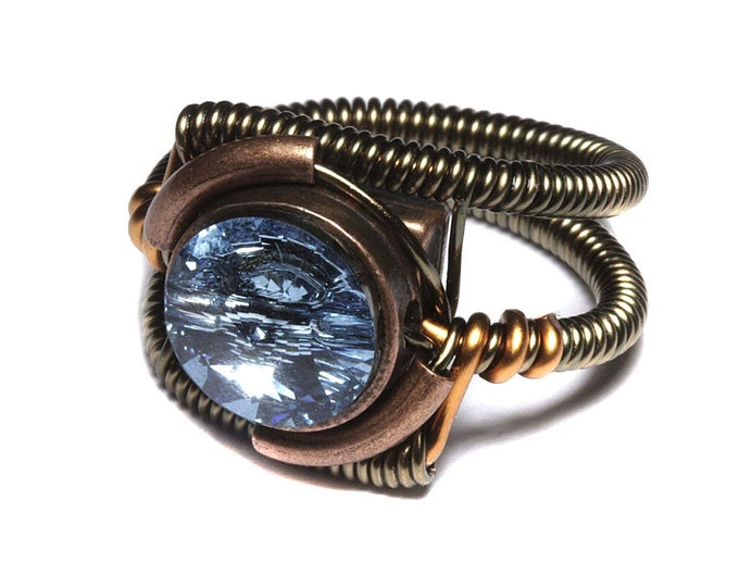Steampunk Jewelry - RING - Aquamarine Blue Swarovski Crystal