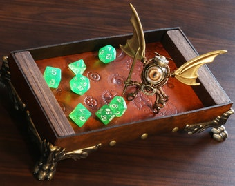Dice rolling tray with Steampunk Modron sculpture