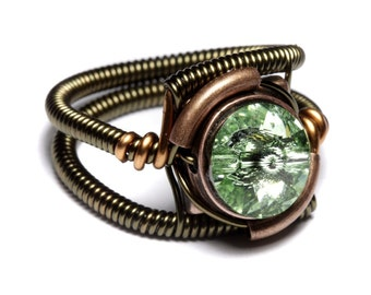 Steampunk Jewelry - Ring - Chrysolite Green Swarovski Crystal - Bronze and Copper