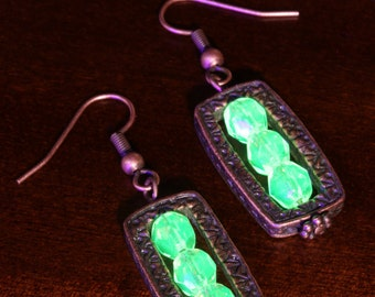 Steampunk Jewelry - Earrings - Vaseline Glass - Copper