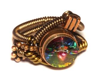 Steampunk Jewelry - Steampunk Wire Ring with Vitrail Swarovski Crystal