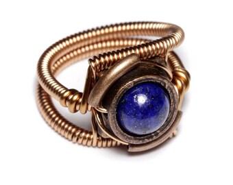 Lapis lazuli ring, Steampunk Jewelry - Ring - Lapis Lazuli