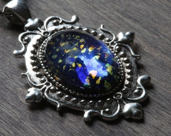 Neo Victorian Necklace with black opal harlequin vintage glass, Silver metal color