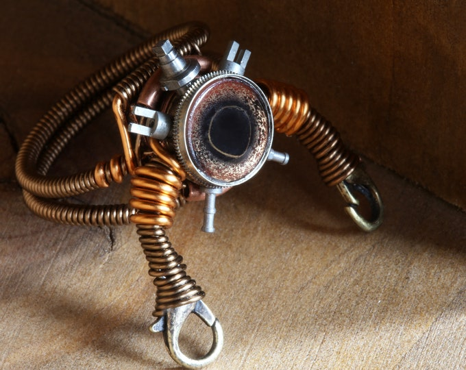 Robot ring with taxidermy glass eye - Size 12.5 ONLY