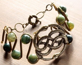 The Neverending Story, Auryn Bracelet with Moss Agate beads