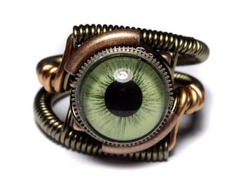 Eyeball ring, Green taxidermy glass Eye, Bronze copper finish, Steampunk Jewelry