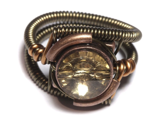 Steampunk Jewelry - Ring - Colorado Topaz Swarovski Crystal