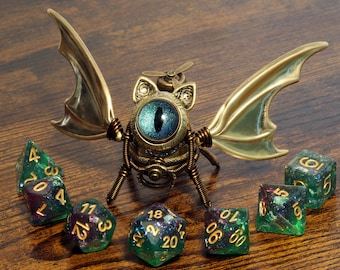 Steampunk Winged Cat Sculpture with green eye, Bat-Cat dice guardian, dungeons and dragons, role playing games, familiar, dnd, D&D,ttrpg