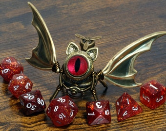 Steampunk Winged Cat Sculpture with red eye, Bat-Cat dice guardian, dungeons and dragons, role playing games, familiar, dnd, pathfider