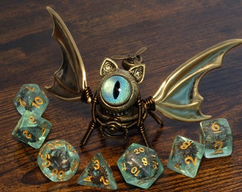 Steampunk Winged Cat Sculpture with turquoise eye, Bat-Cat dice guardian, dungeons and dragons, role playing games, familiar, dnd, D&D,ttrpg