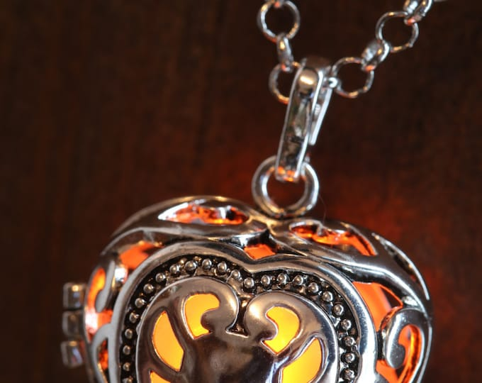 Heart Pendant Heart Jewellery Glowing Necklace Heart Locket with orange glowing Orb Lovely Valentine Gift for Her - LED jewelry