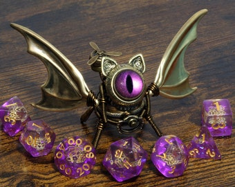 Steampunk Winged Cat Sculpture with pink eye, Bat-Cat dice guardian, dungeons and dragons, role playing games, familiar, dnd, D&D,ttrpg