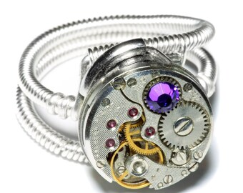 Steampunk ring, Steampunk Jewelry, Antique Watch Movement with Heliotrope Crystal