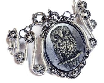 Owl bracelet, Neo Victorian Steampunk Jewelry - Bracelet - Silver Owl Cameo