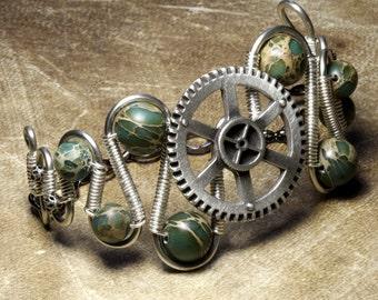 Steampunk Jewelry -  BRACELET -  Copper wire Silver GEAR Metal and MYSTERIOUS BLUE JASPER