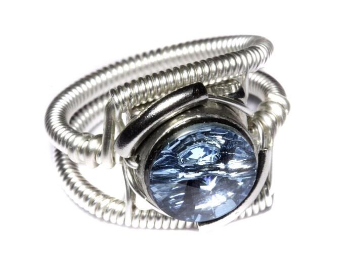 Cyberpunk Jewelry - RING - Aquamarine Swarovski Crystal (Custom size available - see description)