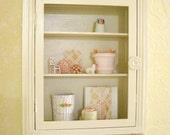 Reserved Creamy White Vintage Antique Medicine Cabinet Display Shelf with Mirror