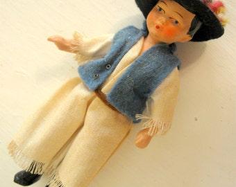 Antique Composition Doll Cowboy Japan Dollhouse Boy