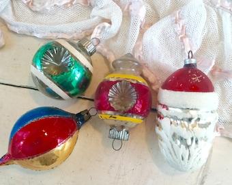 Vintage German Christmas Ornament Balls Santa Set of 4