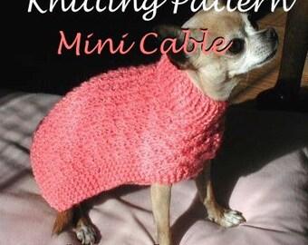 Immediate Download - PDF Knitting Pattern Mini-Cable Dog Sweater